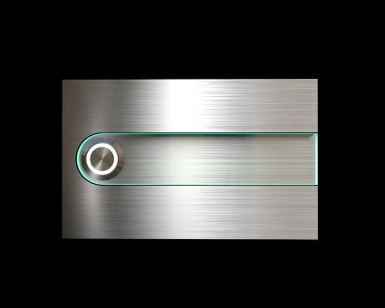 """Design Edelstahklingel mit Acrylglaseinlage (Name austauschbar) """"Trench"""""""