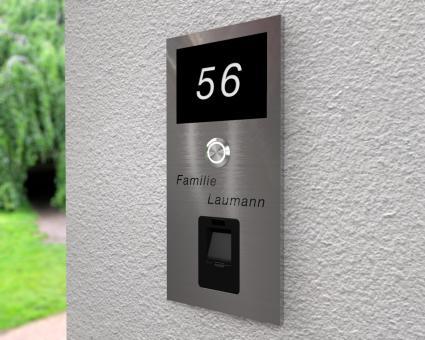 """Moderne Edelstahlklingel mit integriertem Fingerscan inkl. Namen-& Hausnummergravur """"Scan Forth"""""""