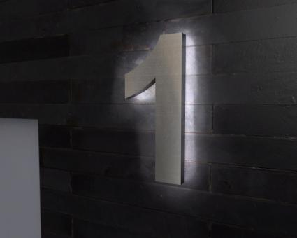 "Edelstahl-Hausnummer 1 mit LED-Ambilight  ""Ambilight Number 1"""
