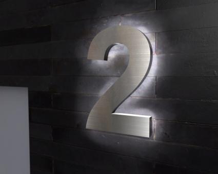 "Edelstahl-Hausnummer 2 mit LED-Ambilight  ""Ambilight Number 2"""
