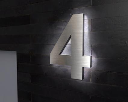 "Edelstahl-Hausnummer 4 mit LED-Ambilight  ""Ambilight Number 4"""