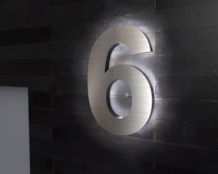 "Edelstahl-Hausnummer 6 mit LED-Ambilight  ""Ambilight Number 6"""