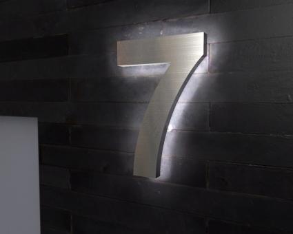 "Edelstahl-Hausnummer 7 mit LED-Ambilight  ""Ambilight Number 7"""