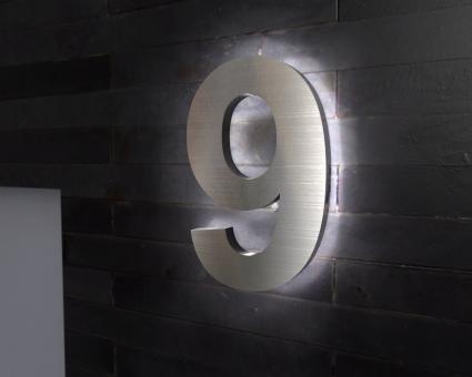 "Edelstahl-Hausnummer 9 mit LED-Ambilight  ""Ambilight Number 9"""