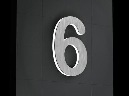 "LED-beleuchtete Edelstahl-Hausnummer 6 ""LED-Numeral 6"""