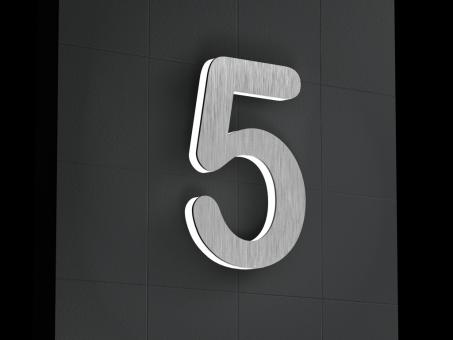 "LED-beleuchtete Edelstahl-Hausnummer 5 ""LED-Numeral 5"""