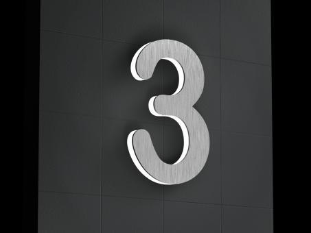 "LED-beleuchtete Edelstahl-Hausnummer 3 ""LED-Numeral 3"""