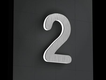 "LED-beleuchtete Edelstahl-Hausnummer 2 ""LED-Numeral 2"""