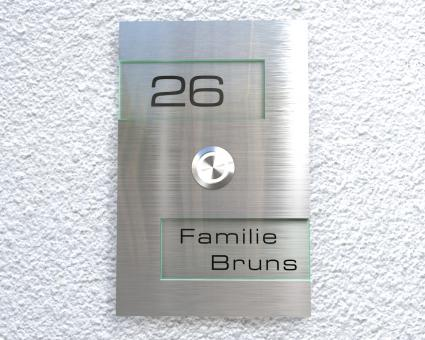 "Design Edelstahlklingel mit Acrylglas & Namen-u. Hausnummerngravur ""Two Acrilan"""