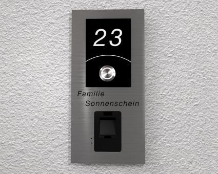 """Moderne Edelstahlklingel mit integriertem Fingerscan inkl. Namen-& Hausnummergravur """"Scan inclusive"""""""