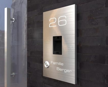 "Edelstahlklingel mit kapazitivem Fingerscan & LED-Namens-u. Hausnummernbeleuchtung ""Scan Bright"""