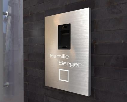 "Edelstahlklingel mit integriertem Fingerscan & LED-Namensbeleuchtung ""Scan Shine"""