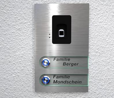"2-Familien Edelstahlklingel mit kapazitivem Fingerscan ""Double Scan Bell"""