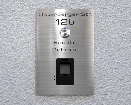 "Design-Edelstahlklingel mit kapazitivem Fingerscan inkl. Namen-& Adressgravur""Scan Destination"""