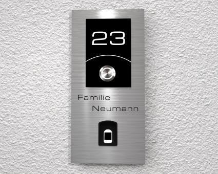 """Moderne Edelstahlklingel mit kapazitivem Fingerscan inkl. Namen-& Hausnummergravur """"Scan inclusive"""""""