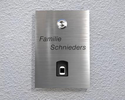 Aufputz o. Unterputz Edelstahlklingel mit kapazitivem Fingerscan & LED-beleuchtetem Taster