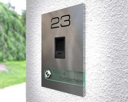 """Moderne Edelstahlklingel mit kapazitivem Fingerscan inkl. Namen-& Hausnummergravur """"Scan Fashion"""""""