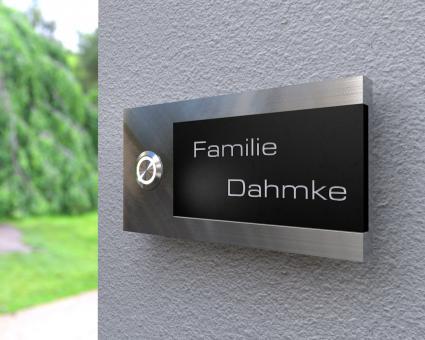 "Design Edelstahlklingel mit Acryl-Gravurfeld (austauschbar) ""B&S Edition Blackboard"""
