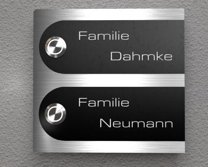 """Duo-Aufputz Edelstahl-MP3-Funkklingel mit austauschbaren Beschriftungsfeldern """"Black & Steel Edition - Two Semicircle"""""""
