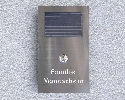 "Solarbetriebene Aufputz-Edelstahl-MP3-Funkklingel mit LED-Tasterbeleuchtung ""Sunlight White"""