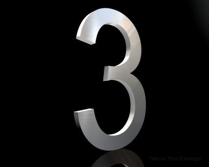 """Edelstahl-Hausnummer 3 """"Digit 3"""""""