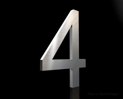 """Edelstahl-Hausnummer 4 """"Digit 4"""""""