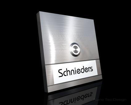 """Design Edelstahlklingel mit Acrylglaseinlage (Name austauschbar) """"Variation"""""""