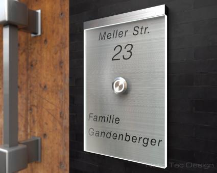 "Design Edelstahlklingel mit Echtglas & LED-Beleuchtung ""Unique"""