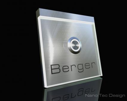 "Design Edelstahlklingel mit Echtglas & LED-Namensbeleuchtung ""Cameo"""
