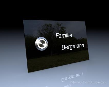 """Schwarze Design Echtglasklingel mit LED-Namensbeleuchtung """"Black Star"""""""