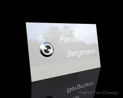 """Weiße Design Echtglasklingel mit LED-Namensbeleuchtung """"Starlight Side"""""""