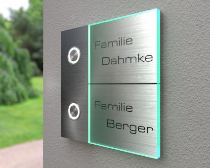 "2-Familien Design-Edelstahlklingel mit Echtglas ""Double Float"""