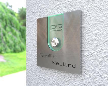 "Aufputz Edelstahl-MP3-Funkklingel mit Gravur ""Elegant Acrylic"""
